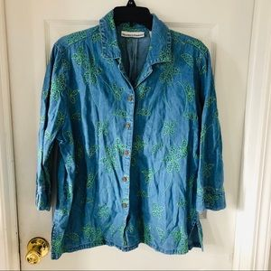 Denim chambray embroidered leaf print top SZ large